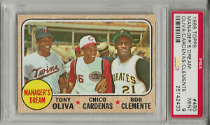 1968 TOPPS #480 MGRS DREAM, PSA 9 MINT, SET BREAK - CLEMENTE/OLIVA/CARDENAS L@@K