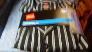 NWT Hanes Woven Pajama Set  Mens  2 Piece 55% Cotton  45% Polyester Black Stripe