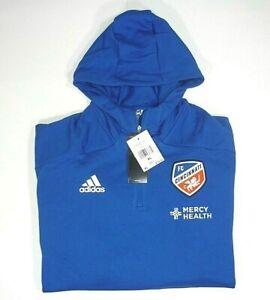 Adidas FC Cincinnati Men XL 1/4-Zip Travel Jacket Pullover Hooded Sweatshirt New