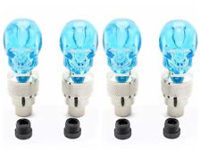 4x Blue Skull LED Light Valve Cap Stem Dust Cover Motorcycle Bike Car Wheel Tyre
