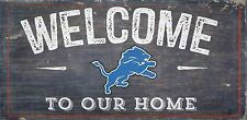 """Detroit Lions Welcome to our Home Wood Sign - NEW 12"""" x 6""""  Decoration Gift"""