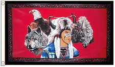 Eagle Indian and Wolf - USA 5'x3' Flag