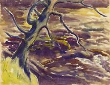 TREE LANDSCAPE Watercolour Painting JOHN THIRTLE FRSA c1930 JOHN NASH STYLE