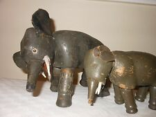 1920s Antique Schoenhut Elephant Lot Two Painted Wood Humpty Dumpty Circus Toy