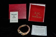 KJL Kenneth Jay Lane GIRAFFE CUFF BRACELET Gold/Copper/White Pouch/Box/Insert