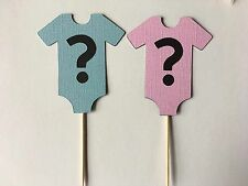 24 Gender Reveal Baby shower cupcake Toppers. Great for baby showers!