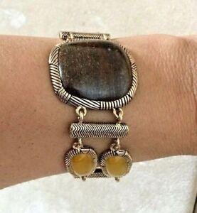 Barse Bracelet, Genuine Bronzite and Yellow Jasper with Bronze metal
