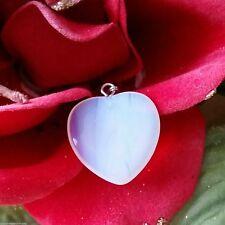 GEMSTONE Pendant Opalite 2cm Heart Sterling Silver Bail