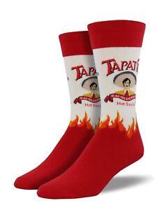 "NEW! Socksmith Men's Socks Novelty Crew Cut Socks ""Tapatio"" Hot Sauce / White"