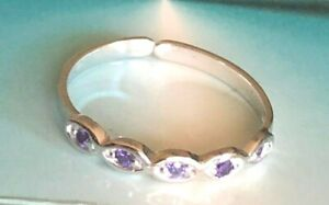 STERLING Silver .925 ~ 5 CZ's Toe Ring Amethyst $7.99 ALL Sterling