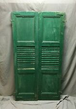 Pair Antique Window Shutters Wood Center Louvered Flat Panel Green VTG 594-20B