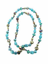 Beautiful New Glass Bead Necklace in Blue Green & Earth Tones #N2029A
