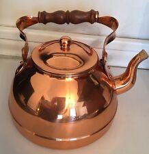 Vintage Tagus Tea Kettle Copper Wooden Handle Portugal R52