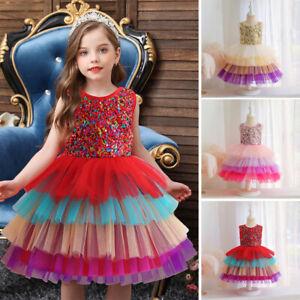 Kids Sequins Tutu Dress Flower Girls Lace Tulle Wedding Christmas Princess Gown