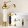 Batroom Gold Sink Washbasin Mixer Solid Brass Deck Mounted Crystal Faucet Taps