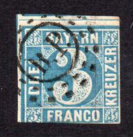 Bavaria (Germany) 3 Kreuzer Stamp c1849 Used SG5 (7457)