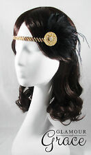 Charleston vintage gatsby 1920s costume black feather hair accessory headpiece