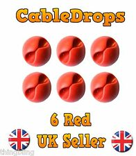 6 Red Cable Drops Clips Stop Cables - USB Charger Cables Management tidy