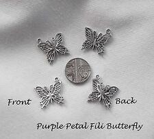 Jewellery Design Project - Tibetan Silver Filigree Butterfly Charm Pendant Pk 8