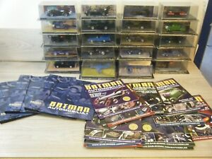 BUNDLE OF 20 BATMAN AUTOMOBILIA EAGLEMOSS BATMOBILES WITH MAGAZINES+FOLDERS