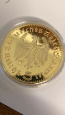 5 RM 24K gold clad Third Reich coin Exonumia WW2 WWII German Germany coins