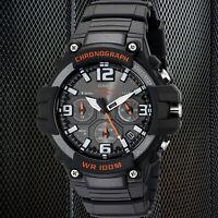Casio MCW-100H-1AV Men's Analog Watch Chronograph Black Red Heavy Duty 100M WR