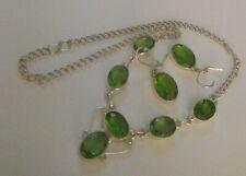 Green Gemstone Necklace & Earrings Set
