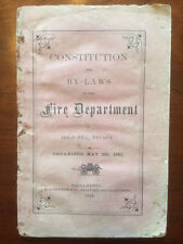 RARE 1868 Gold Hill Nevada Fire Department Constitution By-Laws, Sacramento, CA