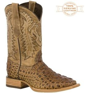 Mens Cowboy Boots Alligator Pattern Square Toe Leather Sand Rodeo Dress