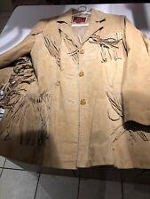 Tan Suede VINTAGE Coat Jacket Stitch with Fringe Detail MARC MATTIS Women's XL