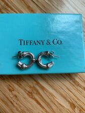 Tiffany & Co Nature Bamboo Earrings Hoops Rare Sterling Silver Gift