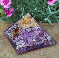 Amethyst Gemstone Orgone Pyramid Hand Made Organite Pyramid 65-70 MM