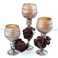 3 Glass Candle Holders Candelabra Dining Table Wedding Shabby Vintage Chic Home