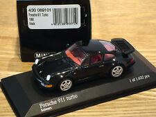 SUPER RARE EARLY ISSUE MINICHAMPS PORSCHE 911 (964) TURBO BLACK 1:43 OBSOLETE