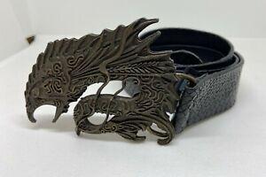 Roberto Cavalli 3D Dragon Buckle Black Snake Leather Belt Size 38 Vintage