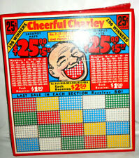 """VTG 1930s Gaming Punch Board """"Cheerful Charley"""" New Old Game UNPUNCHED HTF NRFP"""