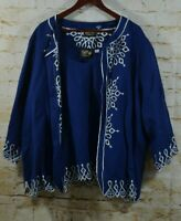 Bob Mackie Womens Sz 3X Blue Linen Blend Jacket Tank Top Embroidered Cutouts