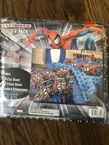 NWT-HTF-RARE-VINTAGE- Spider-Man Full Size Sheet Set 4 Piece Flat Fitted 2 PC