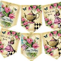 Alice In Wonderland Bunting,Birthday Bunting,Vintage Mad Hatter Teaparty,Garland