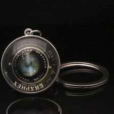 Camera Lens White K Key chains Cabochon Glass Keyfob Pendant Keyring