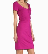 Diane Von Furstenberg $245 BALLY Ruched Sides Jersey Dress Orchid Bloom NWT M