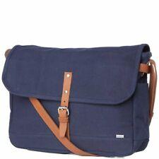 Sandqvist Cross Body Charlie Messenger Bag Blue Canvas Leather shoulder strap