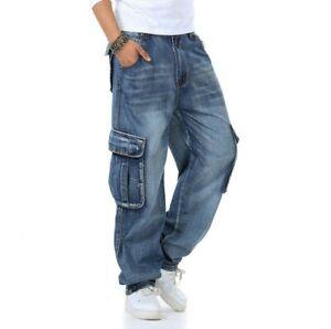 Hommes Hip-Hop Jean Pantalon Cargo Baggy Skateboard Poche