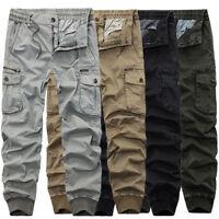 Mens Winter Combat Outdoor Work Pockets Pants Cotton Fleece Lined Cargo Trousers