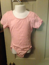Girls Sz 6X - 7 Light Pink Moret Short Sleeve Gymnastic Dance Leotard