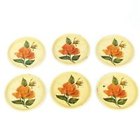 Vintage Tin Metal Drink Coasters Set of 6 Pastel Yellow w/ Red Orange Rose