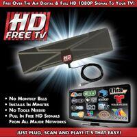 Digital Indoor TV Antenna 1080P HDTV HD VHF UHF FM Flat Box Ready High Gain UK
