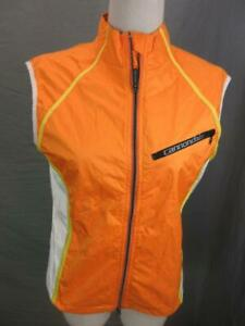 Cannondale Size M Womens Orange Athletic Full Zip Cycling Vest T408