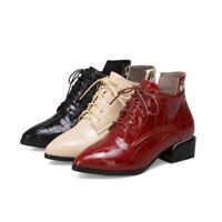 Retro Women Ladies Lace Up Ankle Boots Patent Leather Pointed Toe Low Heel Shoes