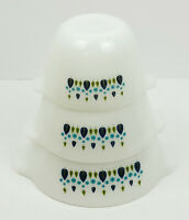 Vintage Fire King Cinderella Milk Glass Blue/ Green Swiss Chalet Mixing Bowl Set